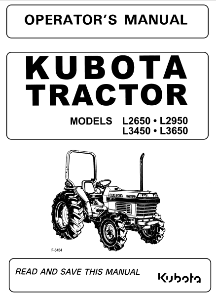 Kubota L2650 L2950 L3450 L3650 Tractor Operator Maintenance Owners Manual Pdf Download Owners Manuals Tractors Manual