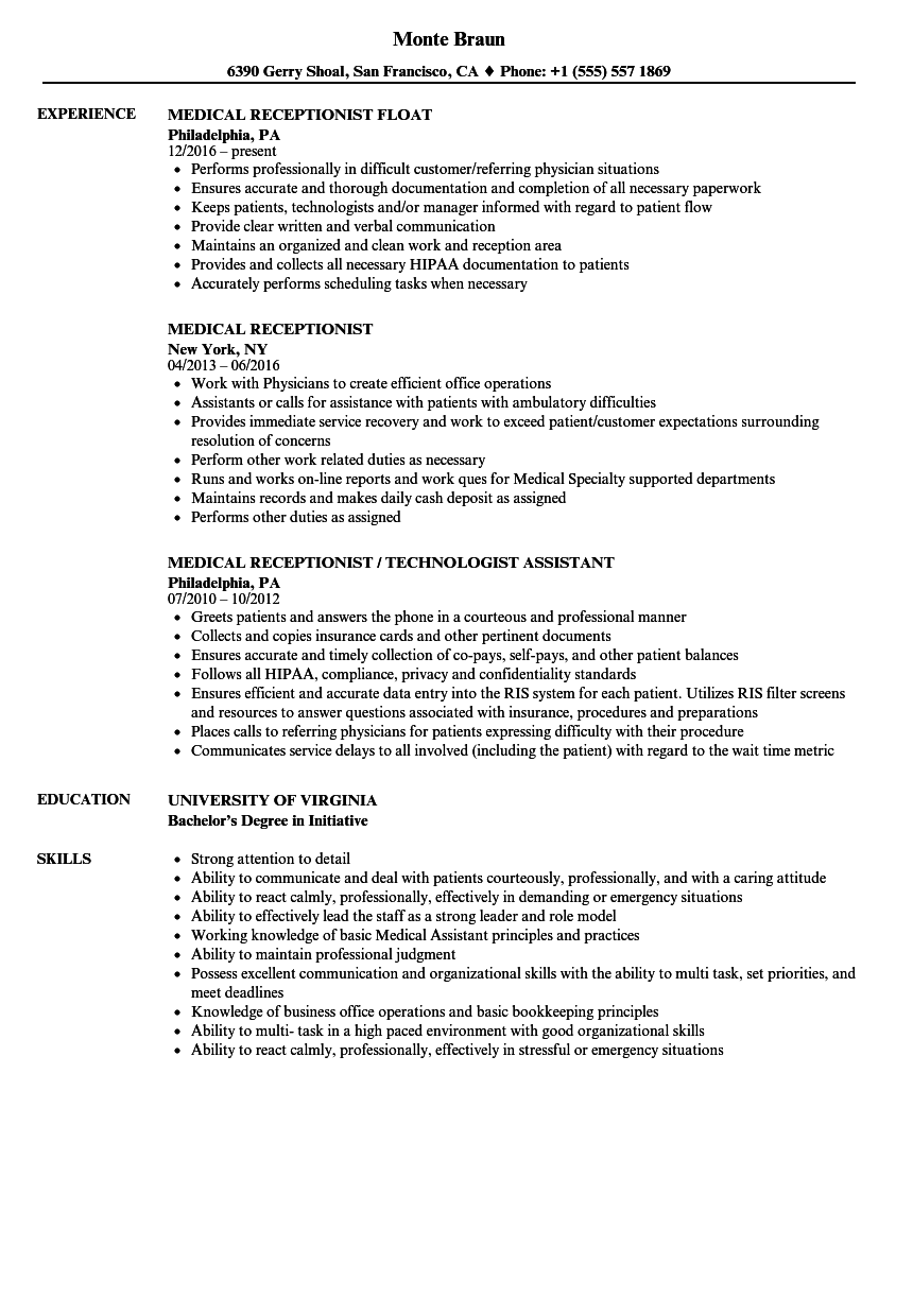35++ Medical receptionist resume description Examples