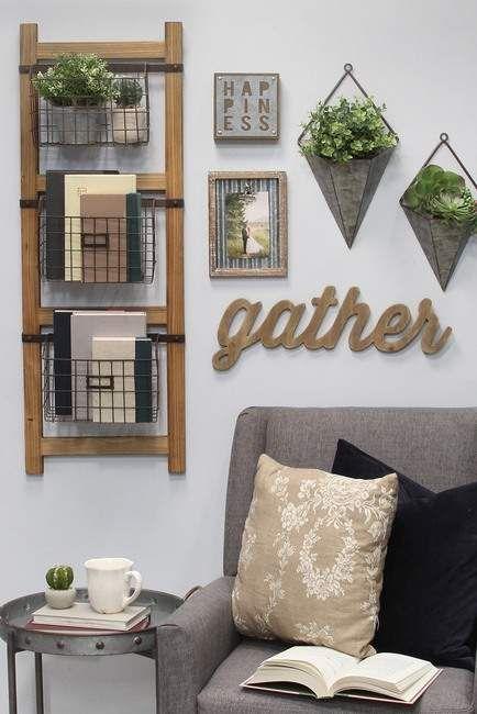 Decorative Ladder Baskets Wall Decor In 2019 Products Baskets On Wall Wall Ladders Wall