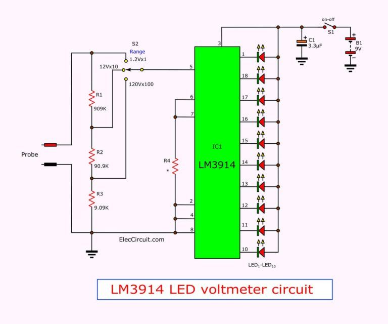 Simple Led Voltmeter Circuit Using Lm3914 Eleccircuit Electronic Circuit Design Led Electronics Projects For Beginners