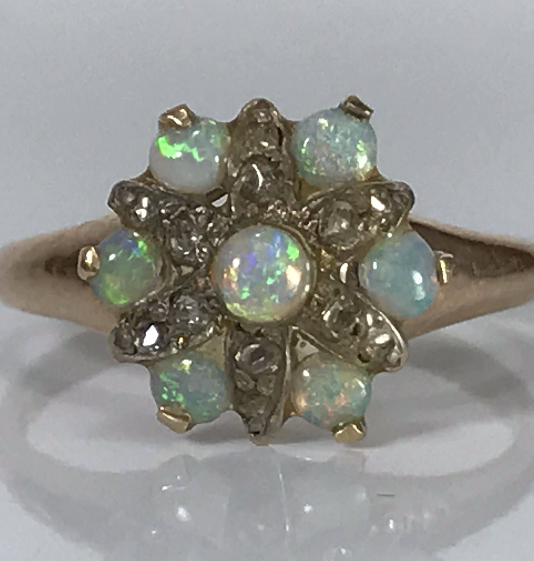 Opal Diamond Cluster Ring in 14K Yellow Gold. Unique