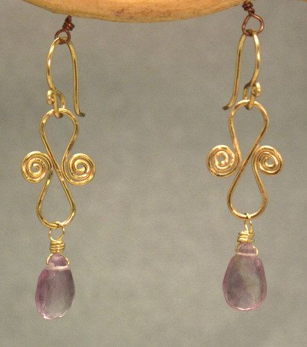 Hammered scroll earrings with your choice of stone Victorian 73