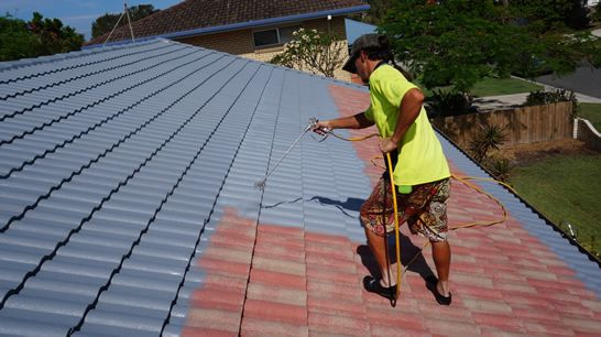 Pressure Cleaning Roof Stage 1 Before Roof Painting Your Roof Needs To Be High Pressure Cleaned To Move Built Up Dirt Roof Paint Roof Repair Roofing Equipment