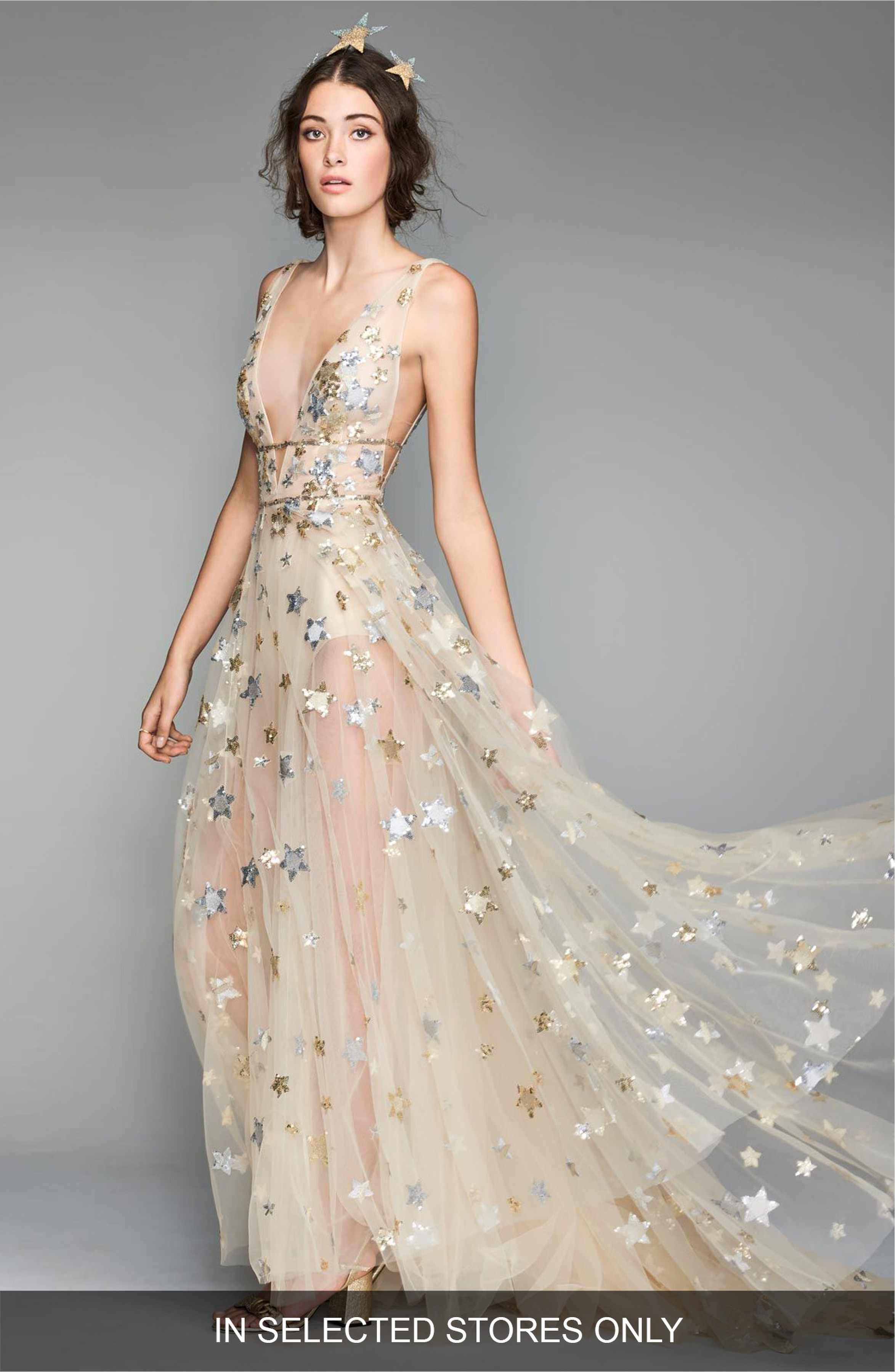 Boho bohemian star print stars sheer wedding dress ethereal