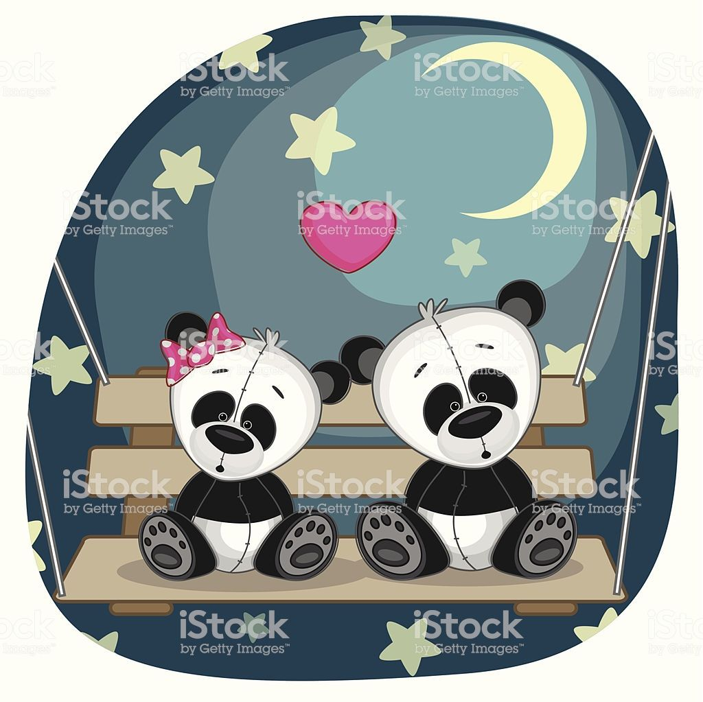 Valentine Card With Lovers Pandas