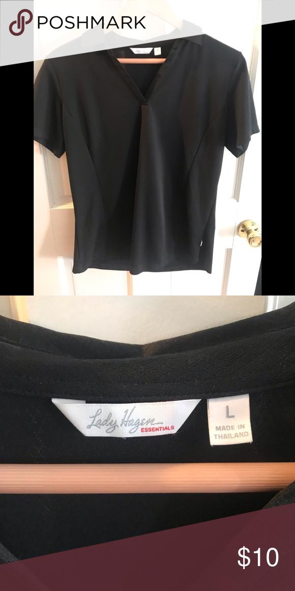 9af3eebb4f10ef Two Lady Hagen golf shirts size large Black polo size large shirt sleeve  Like New Worn