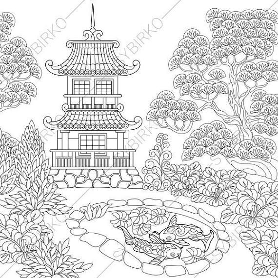 Coloring Pages For Adults Chinese Pagoda Japanese Garden Adult