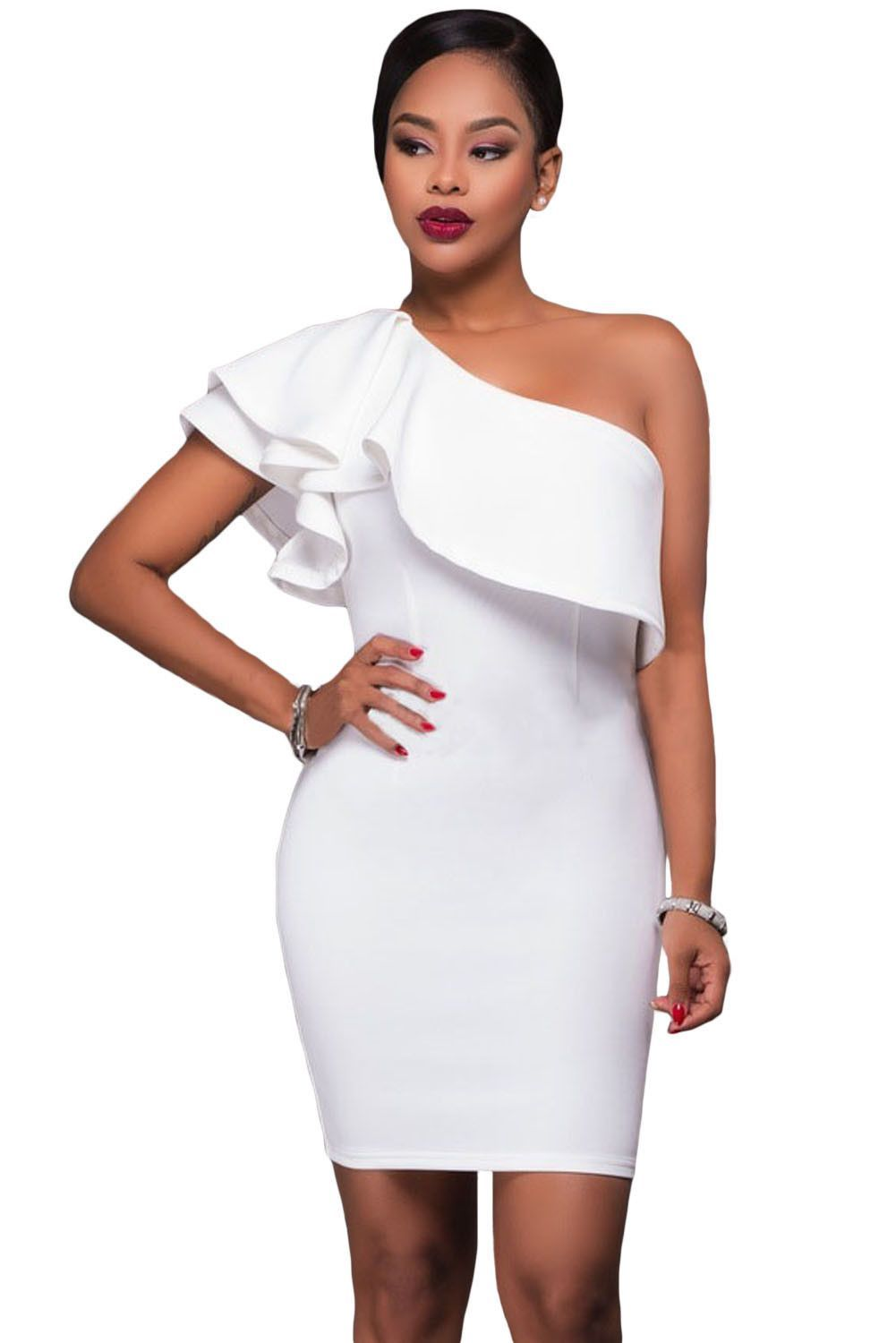8e5a654e1be Robes Courtes Blanches de Soiree Moulante Asymetrique Collerette Pas Cher  www.modebuy.com  Modebuy  Modebuy  Blanc  robes  me  style