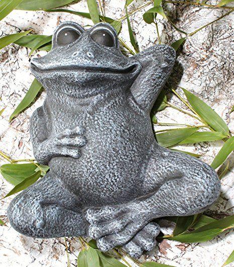 Steinfigur Frosch Liegend Schiefergrau Garten Deko