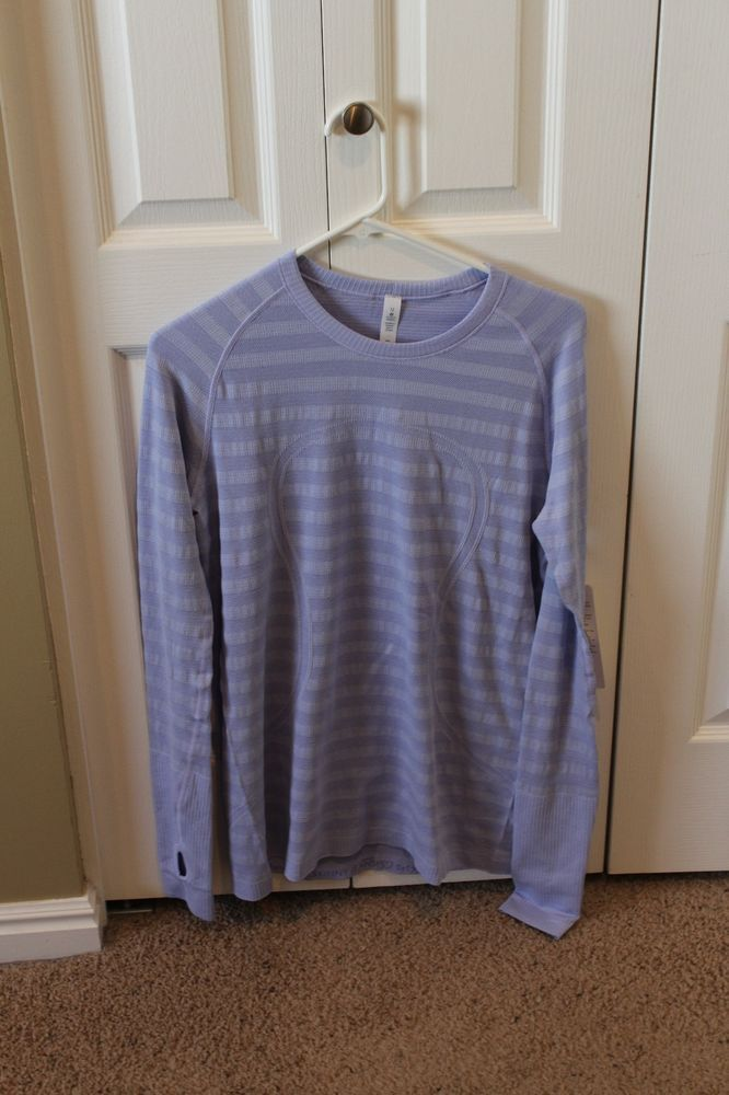 nwt Lululemon Run Swiftly Long Sleeve Stripe heathered lavender purple Size 12