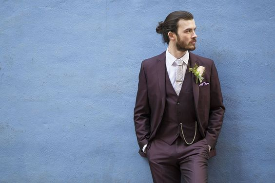Latest Coat Pant Designs Burgundy Wedding Men Suit Slim Fit 3 Piece ...