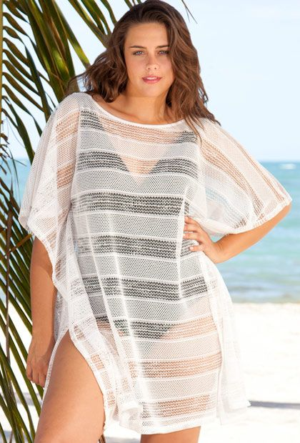 eefc535df20ea Loving this Beach Belle White Poncho Mesh Dress bathing suit cover ...