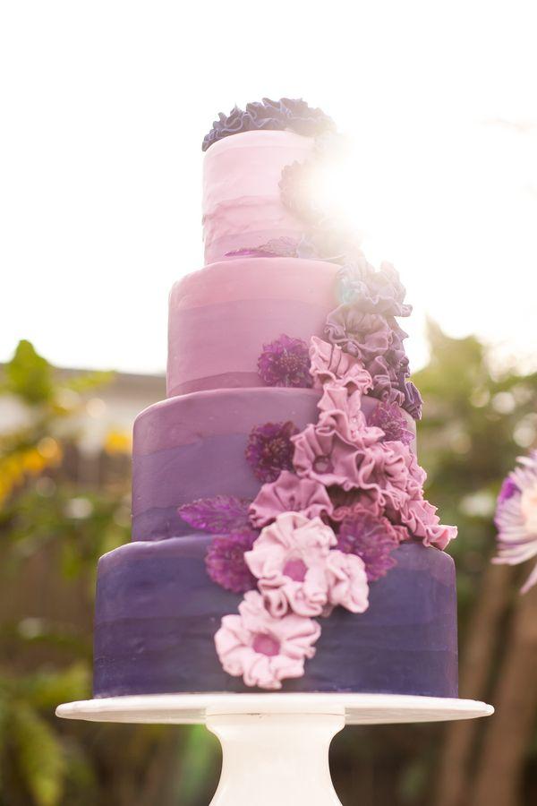 Purple Ombre Wedding Ideas Ruffled Wedding Cake Ombre Purple Wedding Cakes Purple Wedding Cake