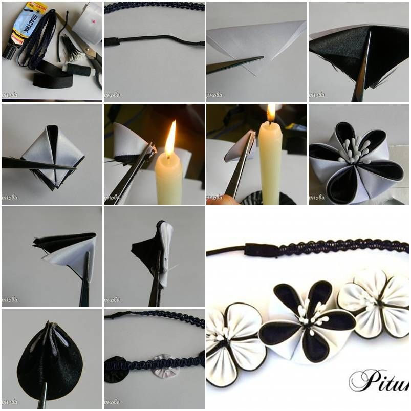 How to make dual color ribbon flower step by step diy for Ribbon crafts to make