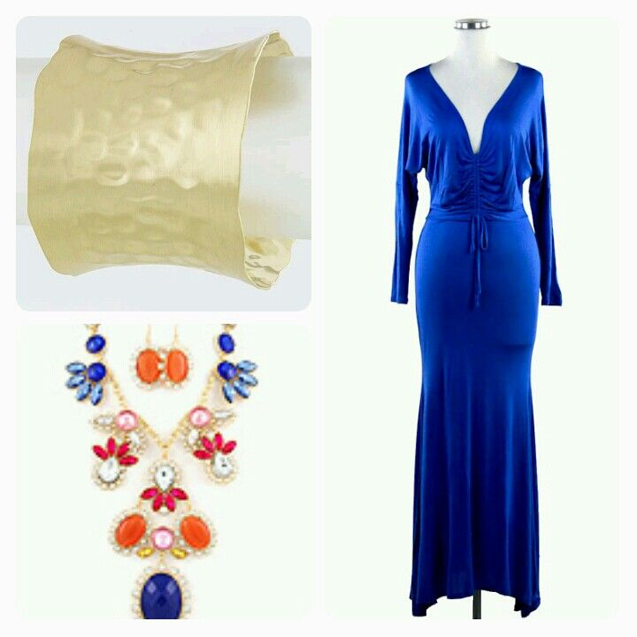 Dale&Co Jewelry Fashion and Accessories. Beautiful royal blue long dress, Colorful Necklace and Earring....