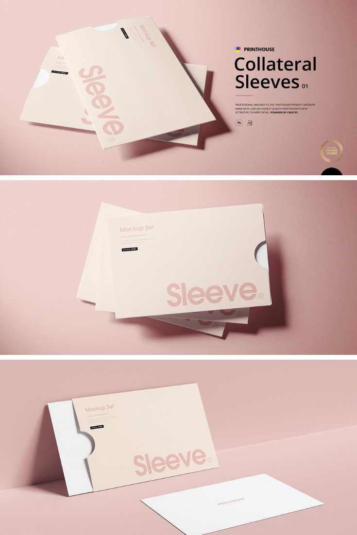 Collateral Sleeves Mockup Set Type 1 Mockup Template Free Free Photoshop Creative Market