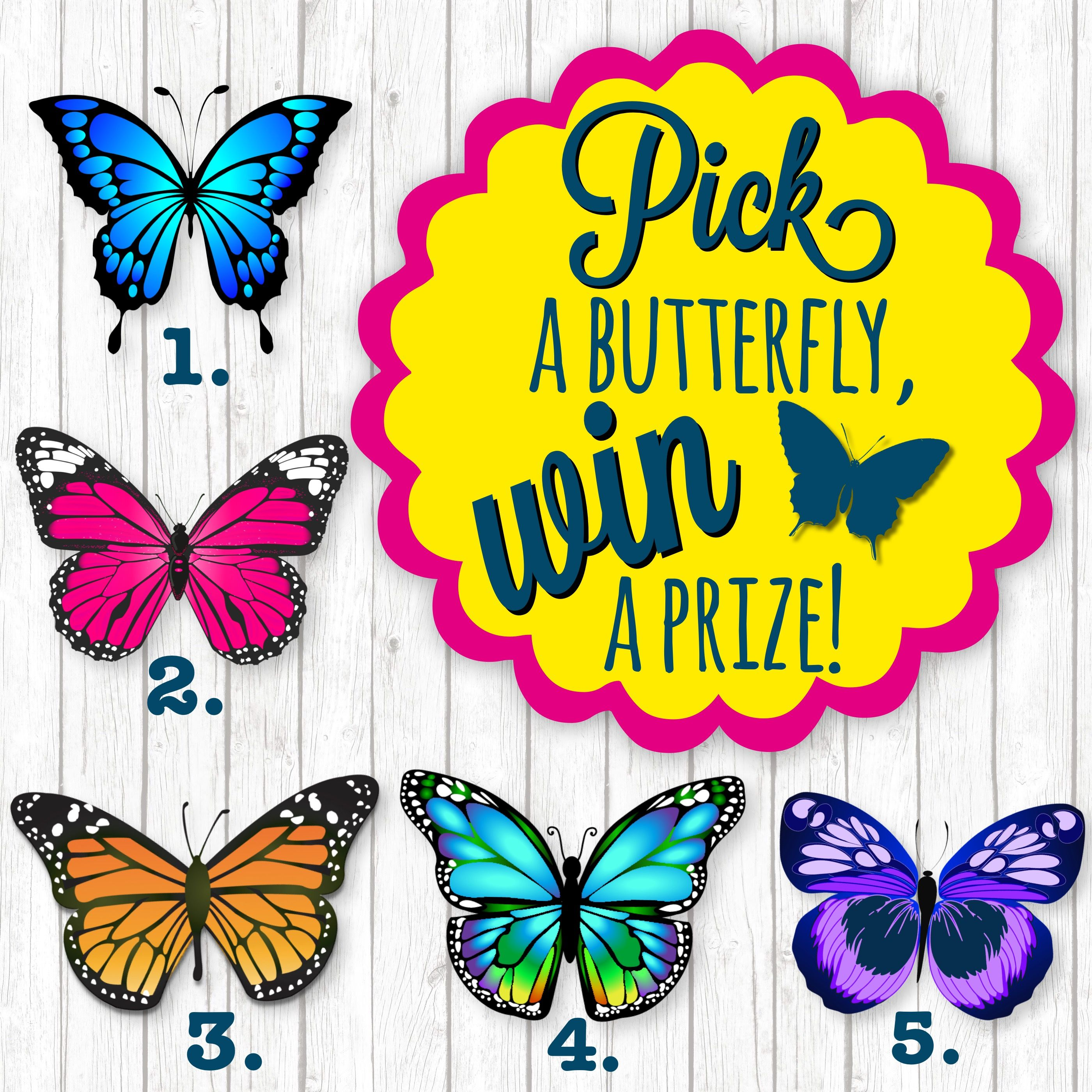 Pick a butterfly win a prize! Great for online sales parties or VIP ...