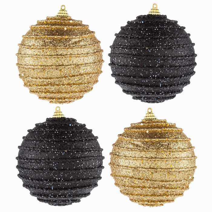 Black  Gold Polyfoam Ball Ornaments with Ripples All About