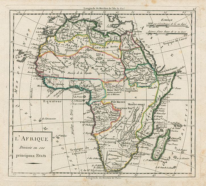Map Of Africa In 1800.L Afrique Divisee En Ses Principaux Etats By Charles Delamarche