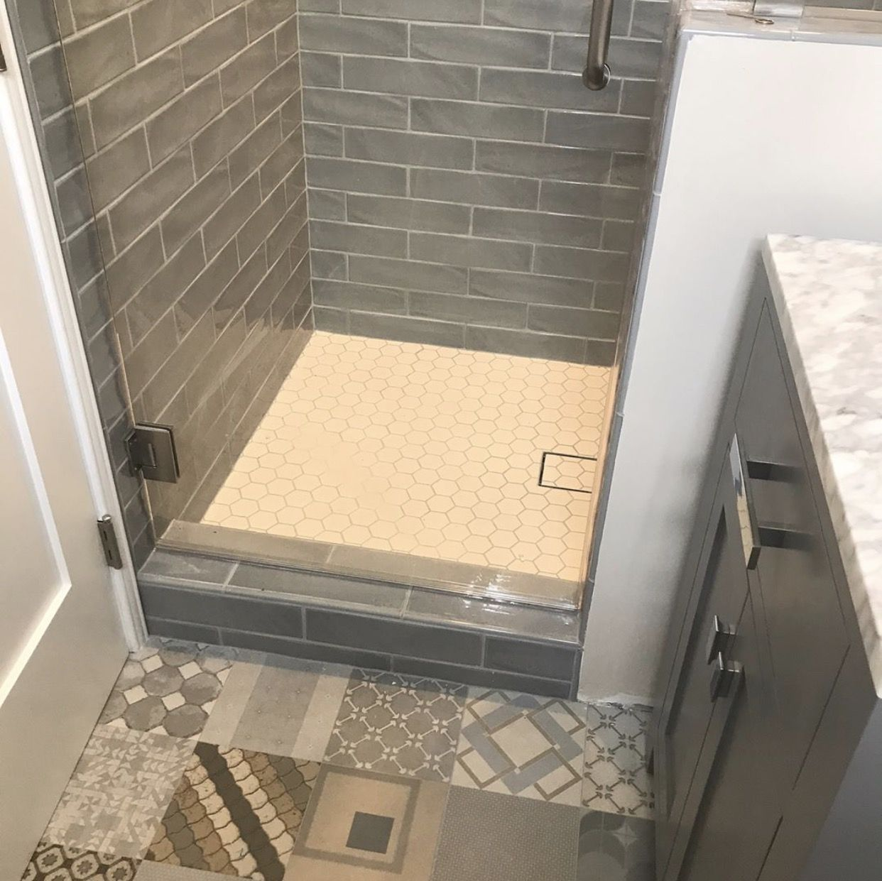 Siena village mix blue 24x24 Longurno shower floor 2x2 hex Shower ...