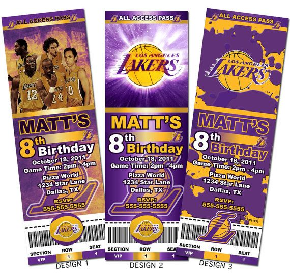 Los Angeles Lakers Kobe Basketball Custom Party Ticket Invitations - party ticket invitations