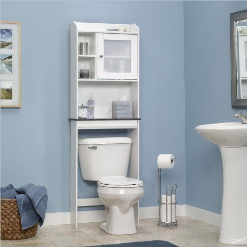 Amazon Com Sauder Caraway Etagere Bath Cabinet Soft White Finish Free Standing Cabine Over The Toilet Cabinet Bathroom Floor Cabinets Bathroom Space Saver