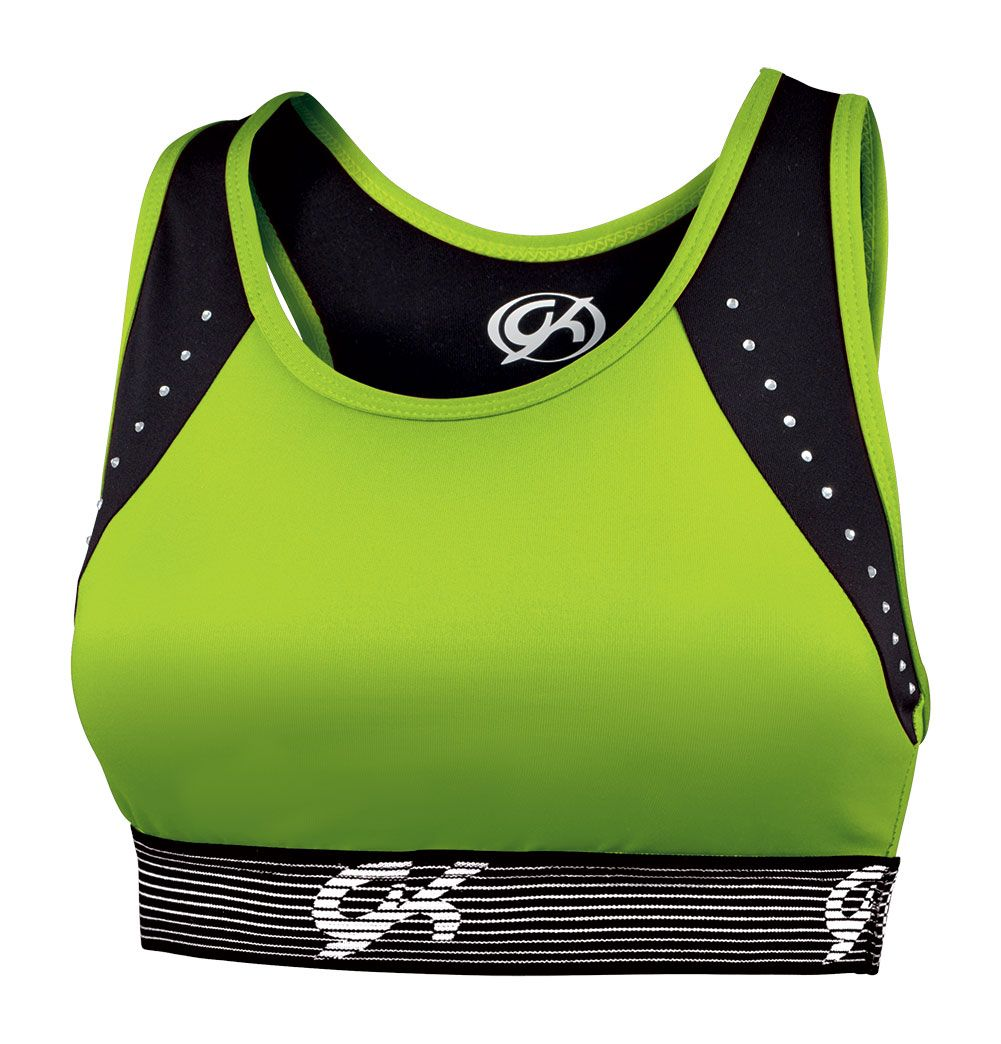 Fitted sports bra with rhinestone detail, perfect for any