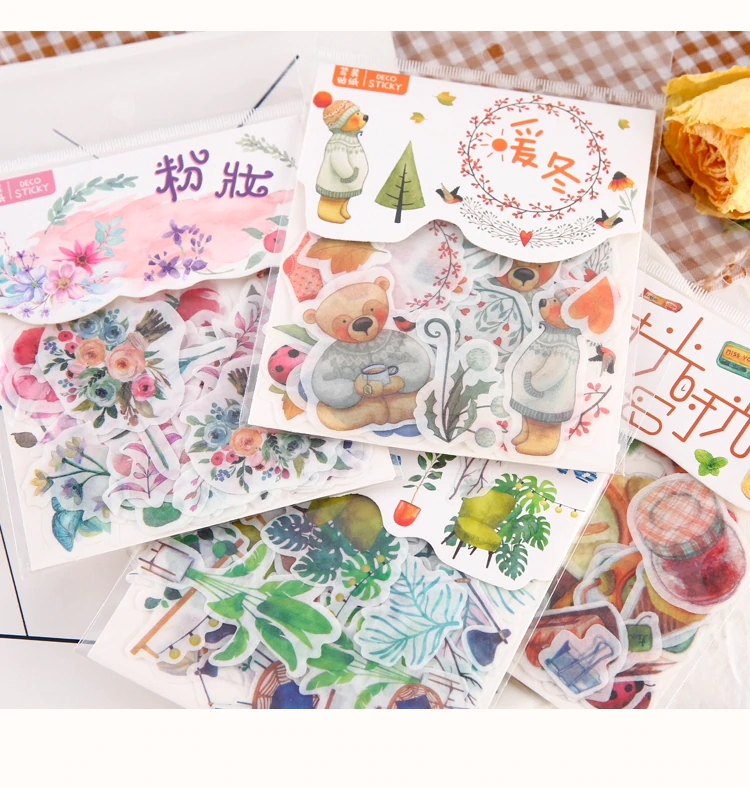 40pcs Lot Cute Washi Paper Stationery Sticker Set Kawaii Stickers Decoration Label For Journal Planner Bullet Journal Stickers Journal Stickers Cute Stationery