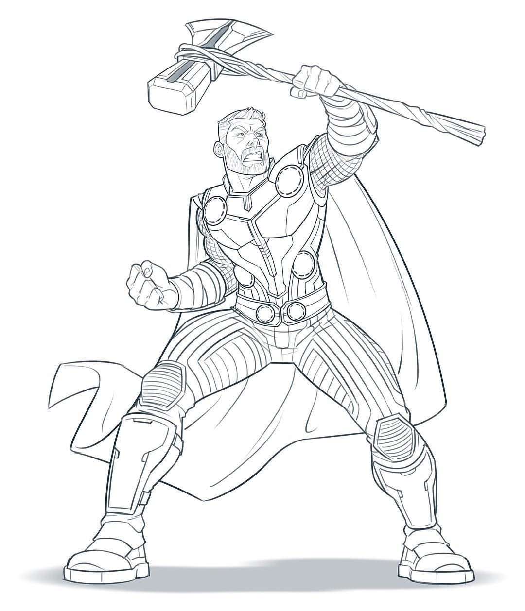 Progress Has Been A Bit Slow On My Avengers 4 Artwork But Today I Was Able To Draw Thor Wielding Stormbrea In 2021 Marvel Coloring Thor Artwork Avengers Coloring Pages