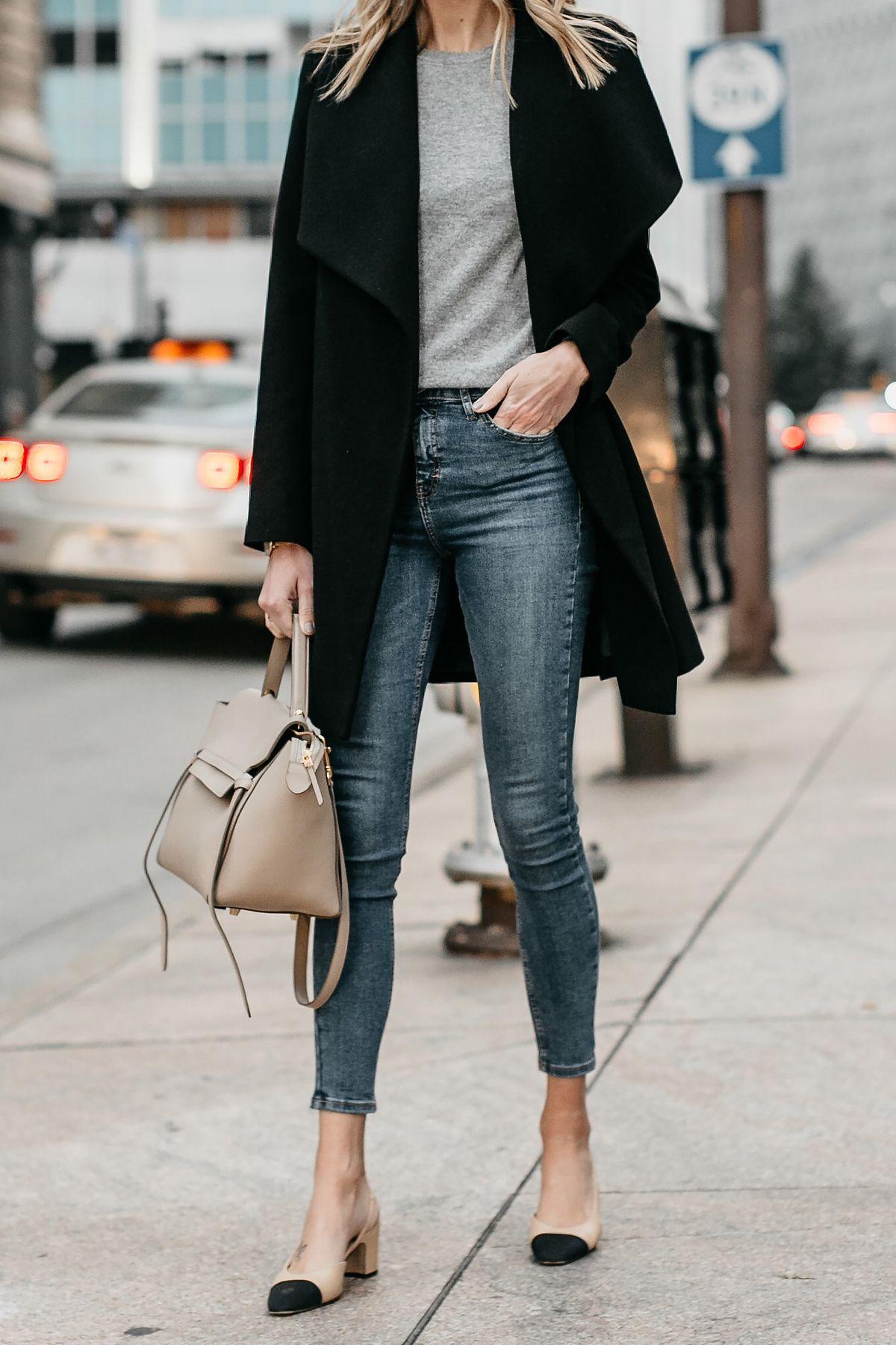 9cb2facde19 Black Wrap Coat Grey Sweater Denim Skinny Jeans Chanel Slingbacks Celine  MIni Belt Bag Fashion Jackson Dallas Blogger Fashion Blogger Street Style