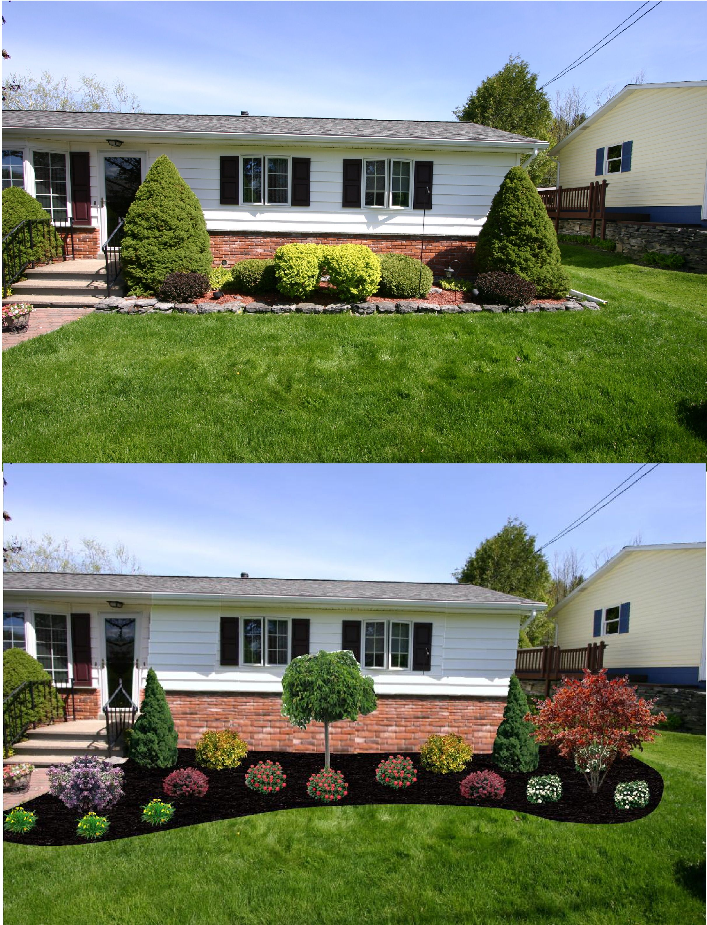 Before after new foundation plantings wide curved for Front bed landscaping ideas