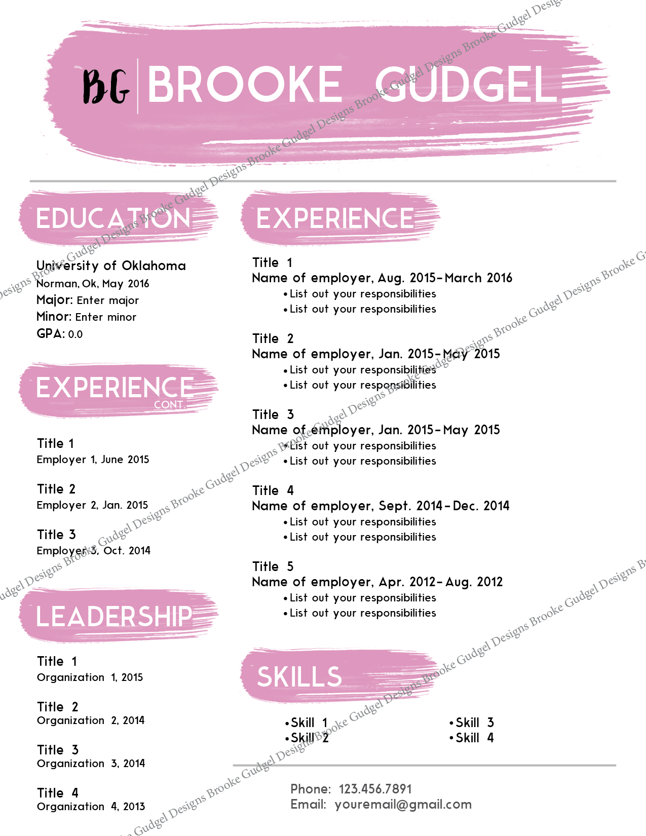Blush Resume Contact BrookegudgelGmailCom Sorority Rush