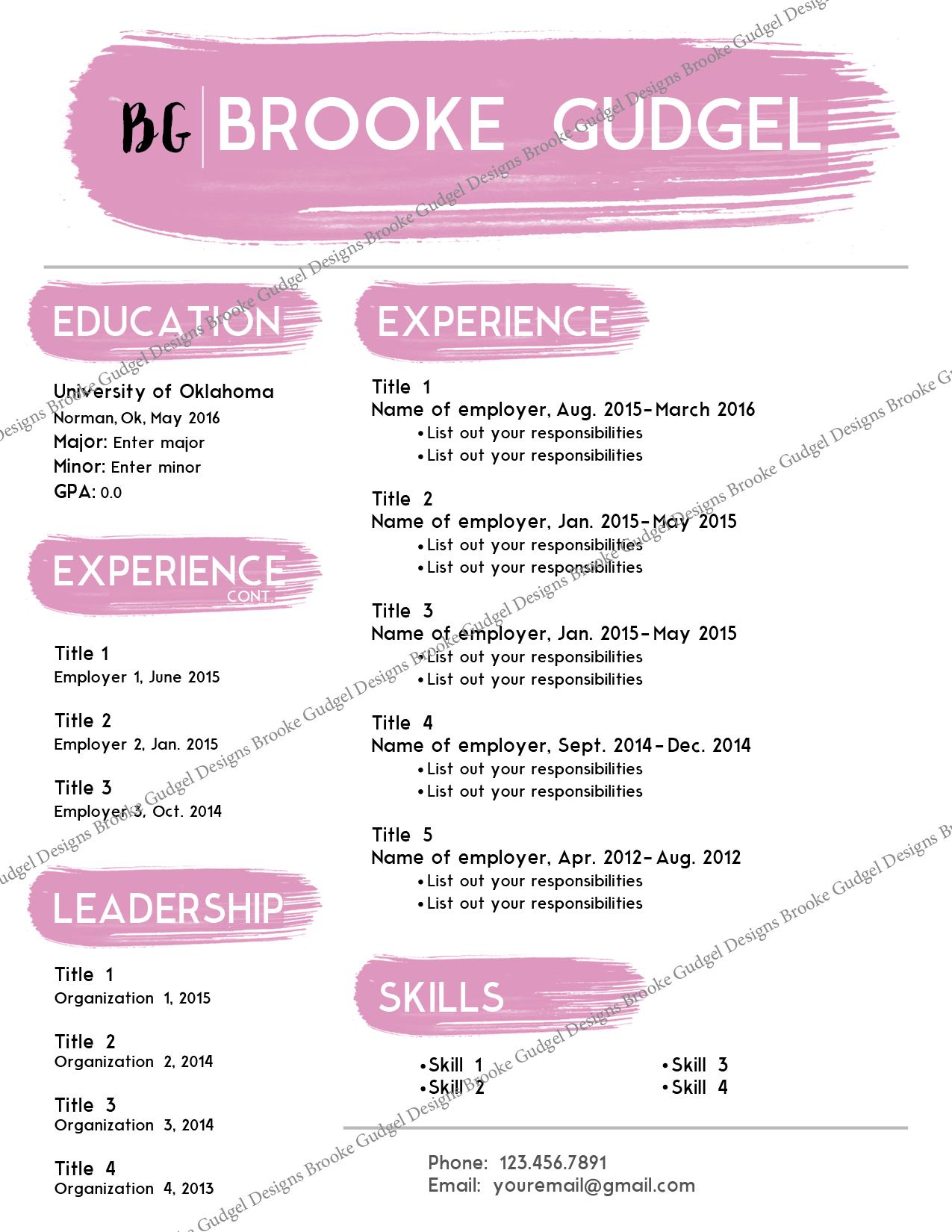 sorority recruitment resume template
