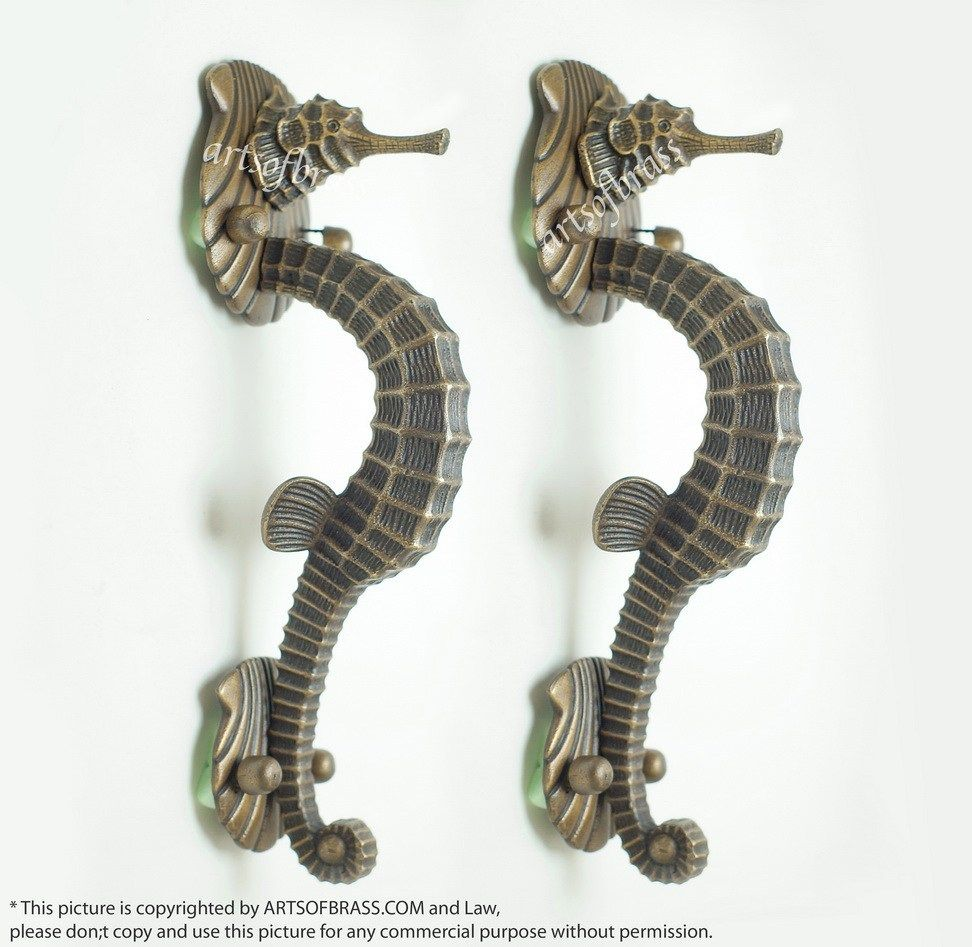 """4 small SEAHORSE solid brass door SILVER plated old style PULL handle 10/"""" long B"""