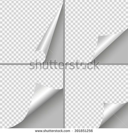 Set of Pages curl with shadow on blank sheet of paper White paper - blank sheet of paper with lines