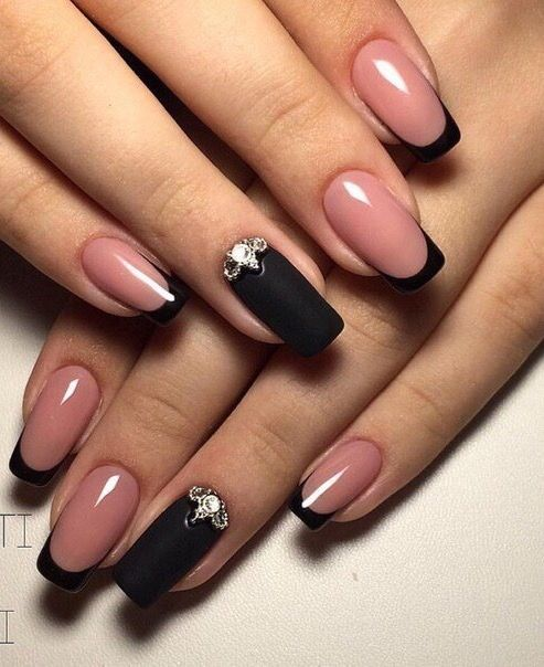 Beautiful Winter Nails Beyonce Black French Manicure Lacquer With Rhinestones Evening Fall