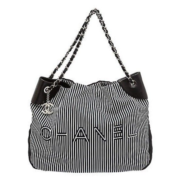 11d9f692be2b Chanel Navy Blue And White Stripe Canvas Rialto Tote Handbag ($2,505) ❤  liked on