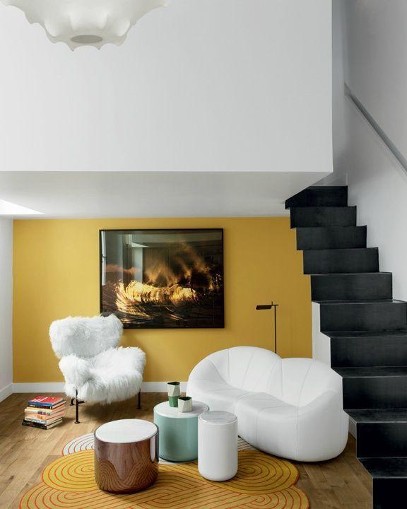Jaune, blanc et noir Déco salon Pinterest Salons, Interiors