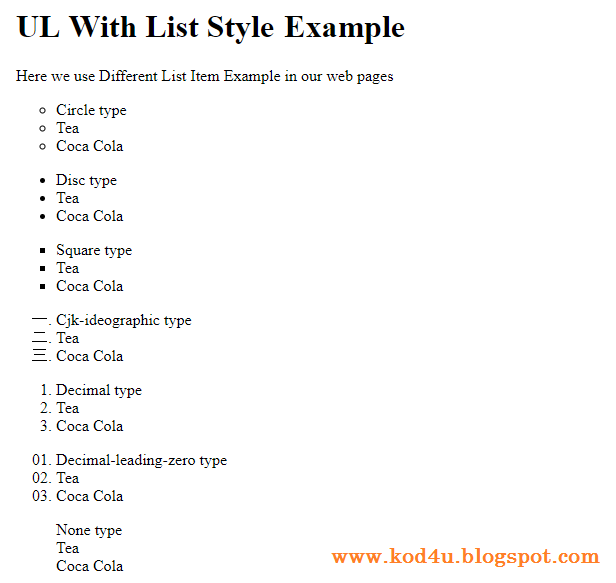 CSS UL With List Style Example | Kod4u | Pinterest