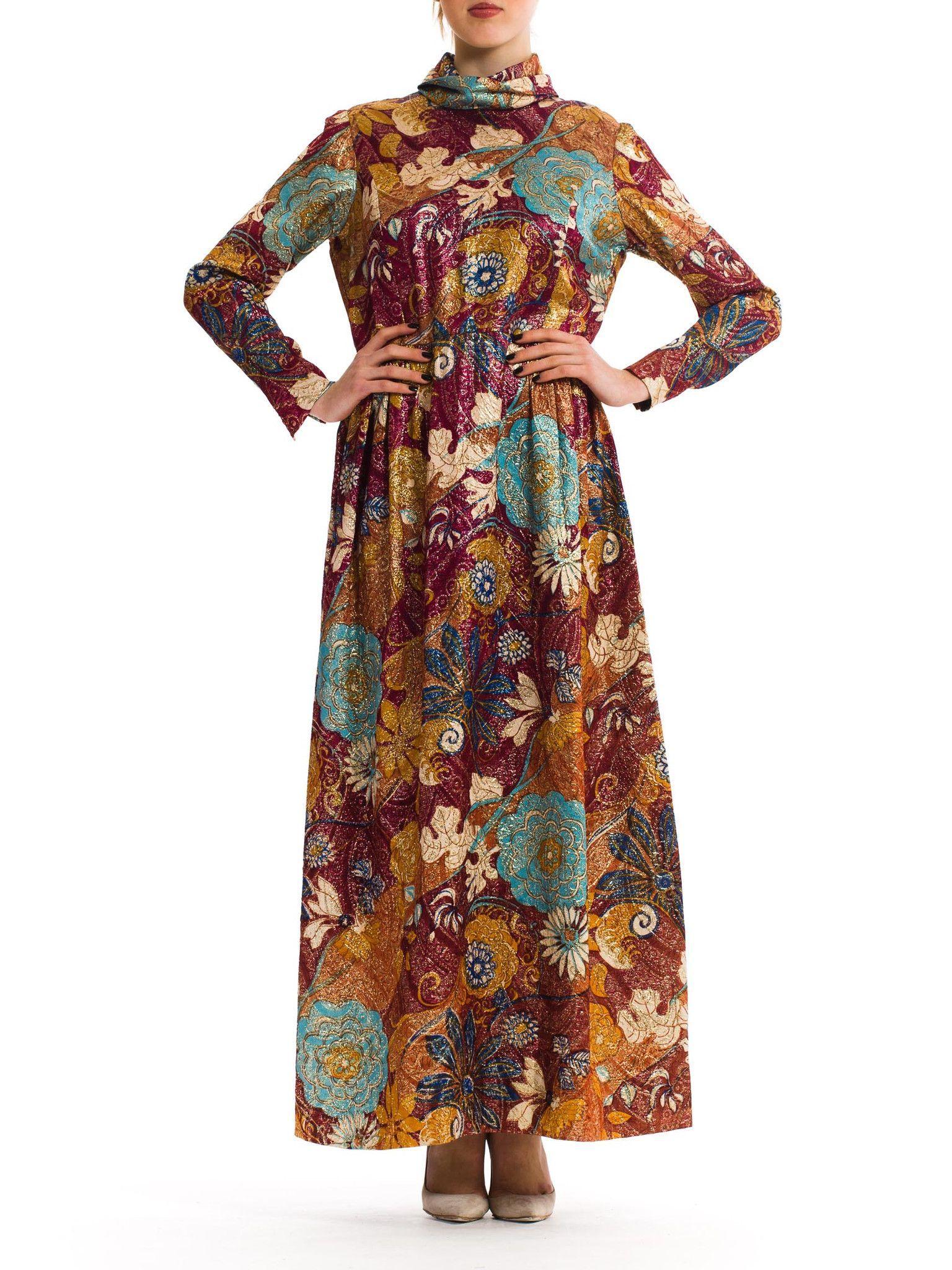 1960s Vintage Metallic Floral Print Dress