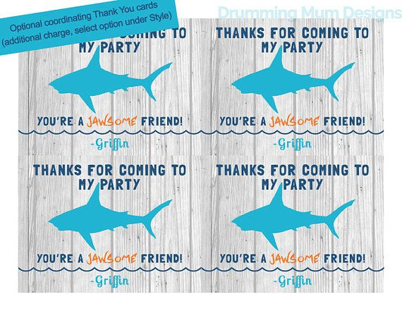 Shark Party Birthday Thank You Invitation – Shark Invitations Birthday Party