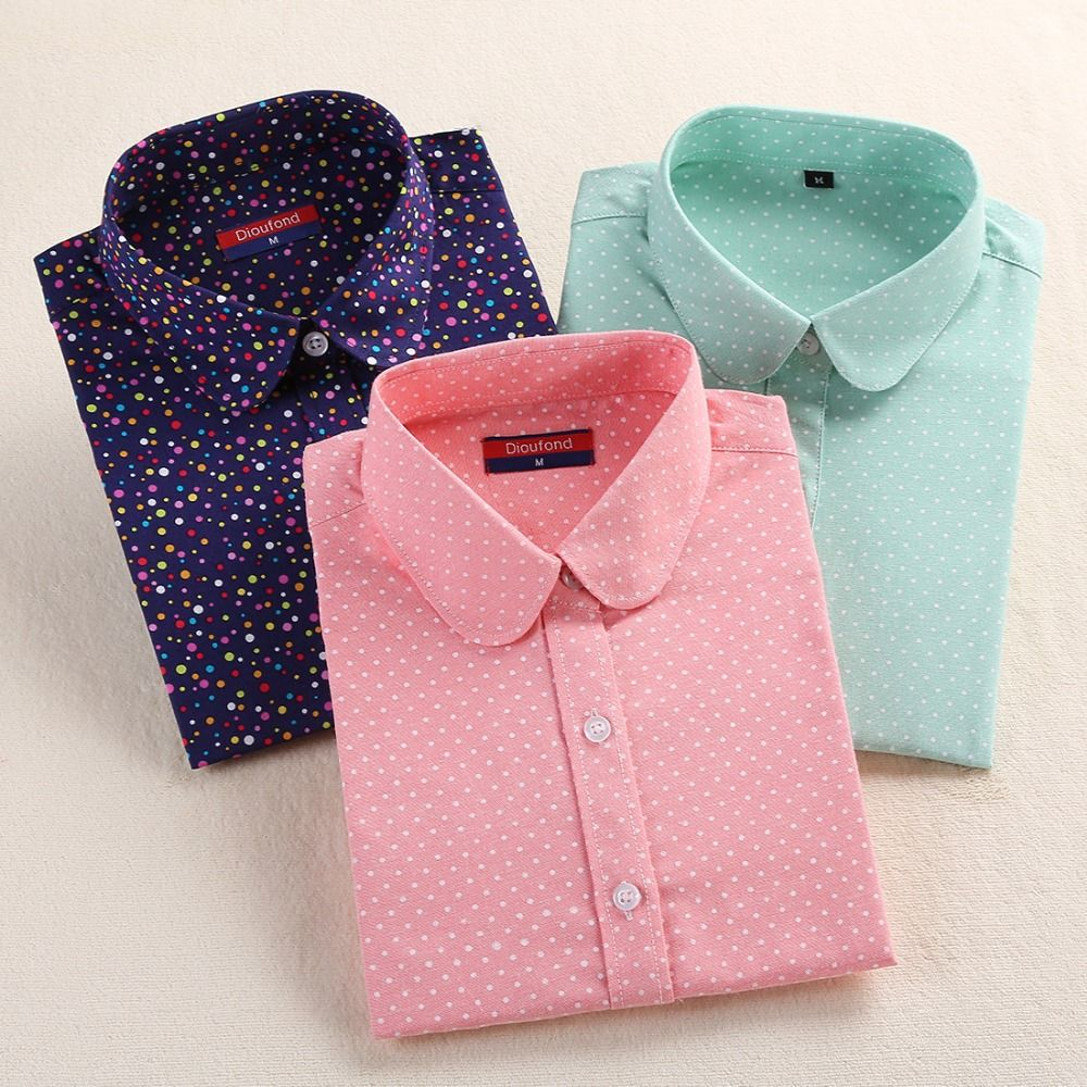 US $7.67 - 8.97 2016 Plus Size Polka Dot Cotton Women Blouses ...