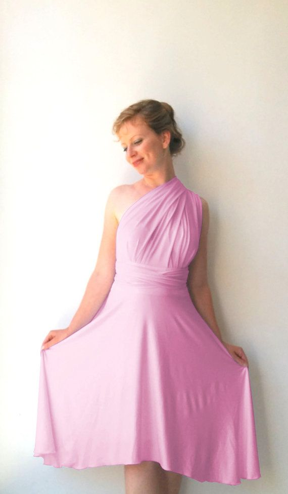 e5e4fe6a8905 Tailored to Size & Length Bridesmaids dress in orchid color with asymmetric  hem cocktail-length dress Multiway Dress wrap dress