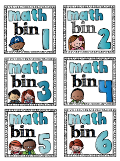FREE Math bin labels! (to be used on labels that are 3 and 1/3 x 4inches)