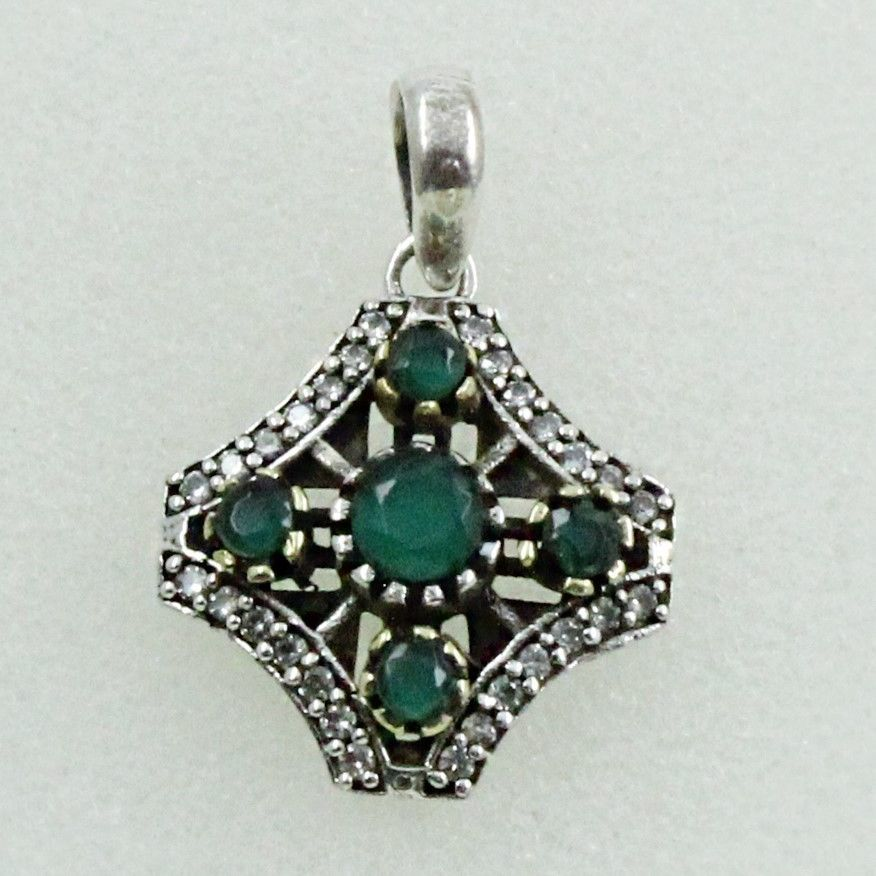 CUBIC ZIRCONIA & EMERALD AGATE AWESOME DESIGN 925 STERLING SILVER PENDANT…