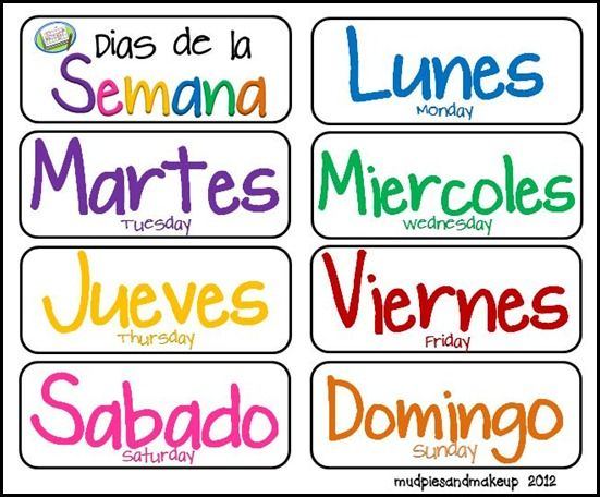 Spanish Days of the Week, various printables