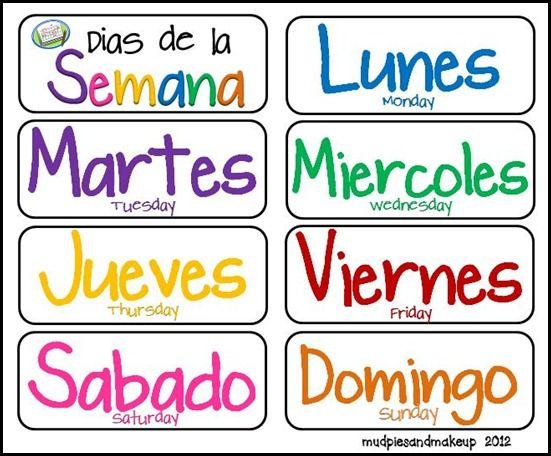 Spanish Days Of The Week Various Printables Homeschool