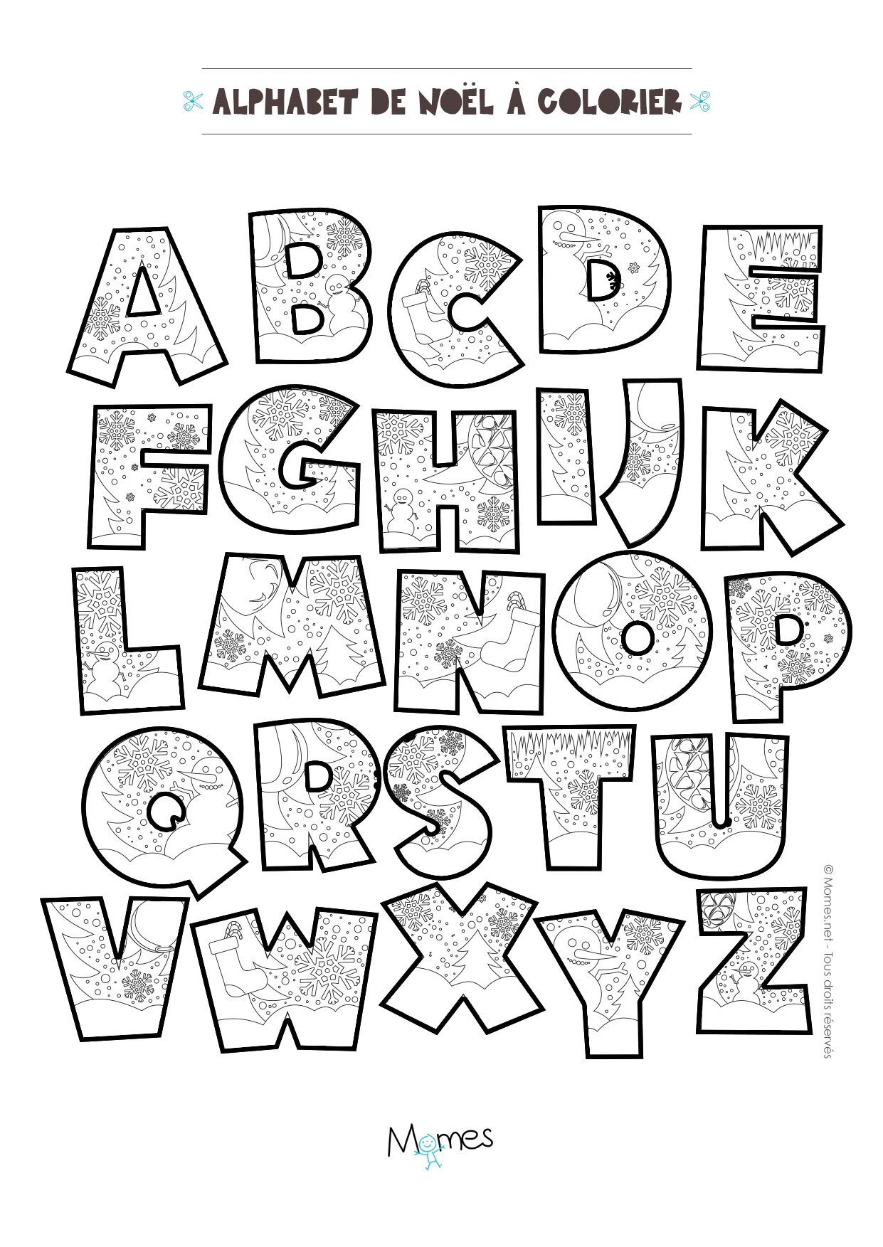 Coloriage Alphabet de Noël à imprimer   Bullet journal lettering ...