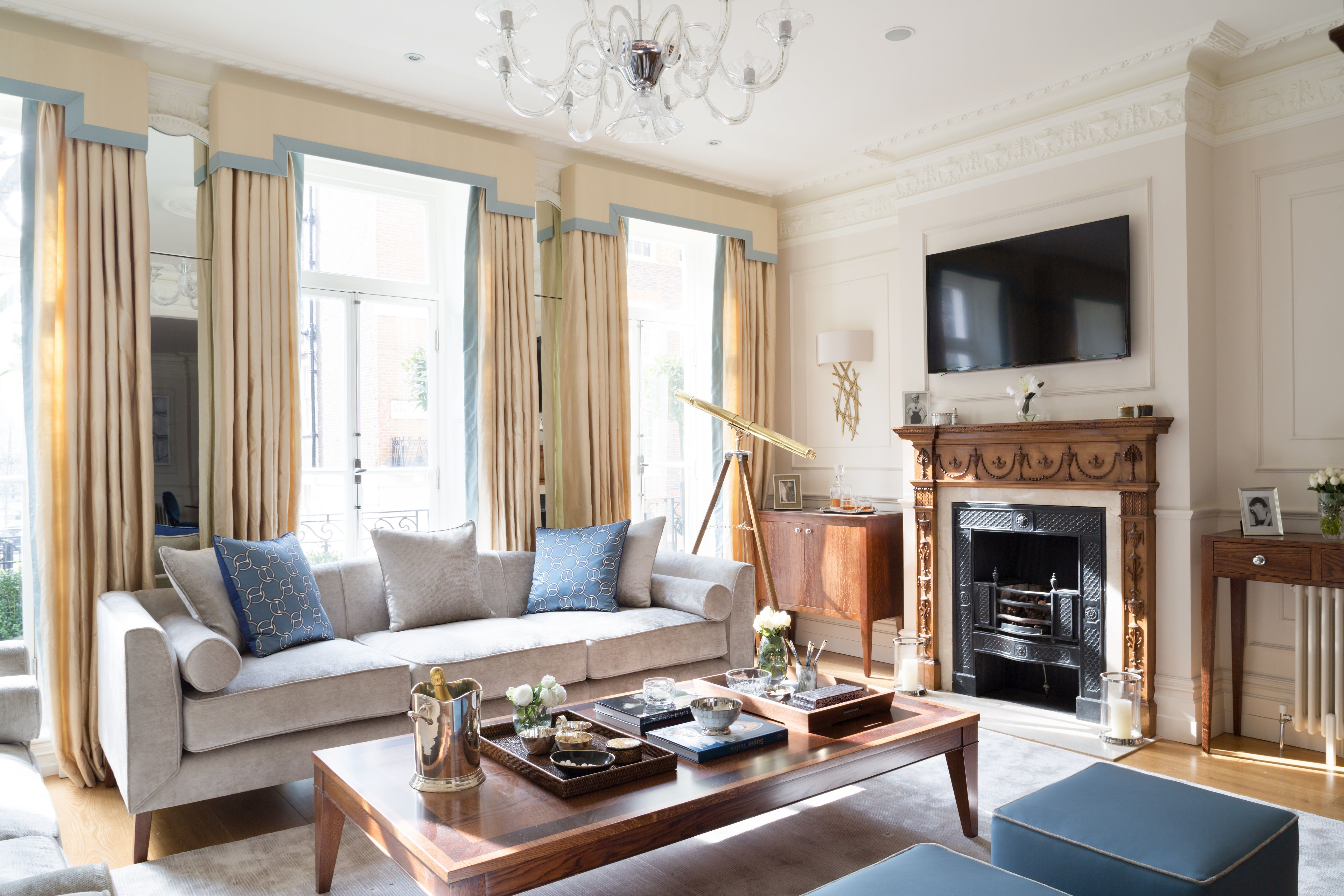 Modern British Interior Listed Mayfair Design Companies Timeless Elegance Oversized Mirror
