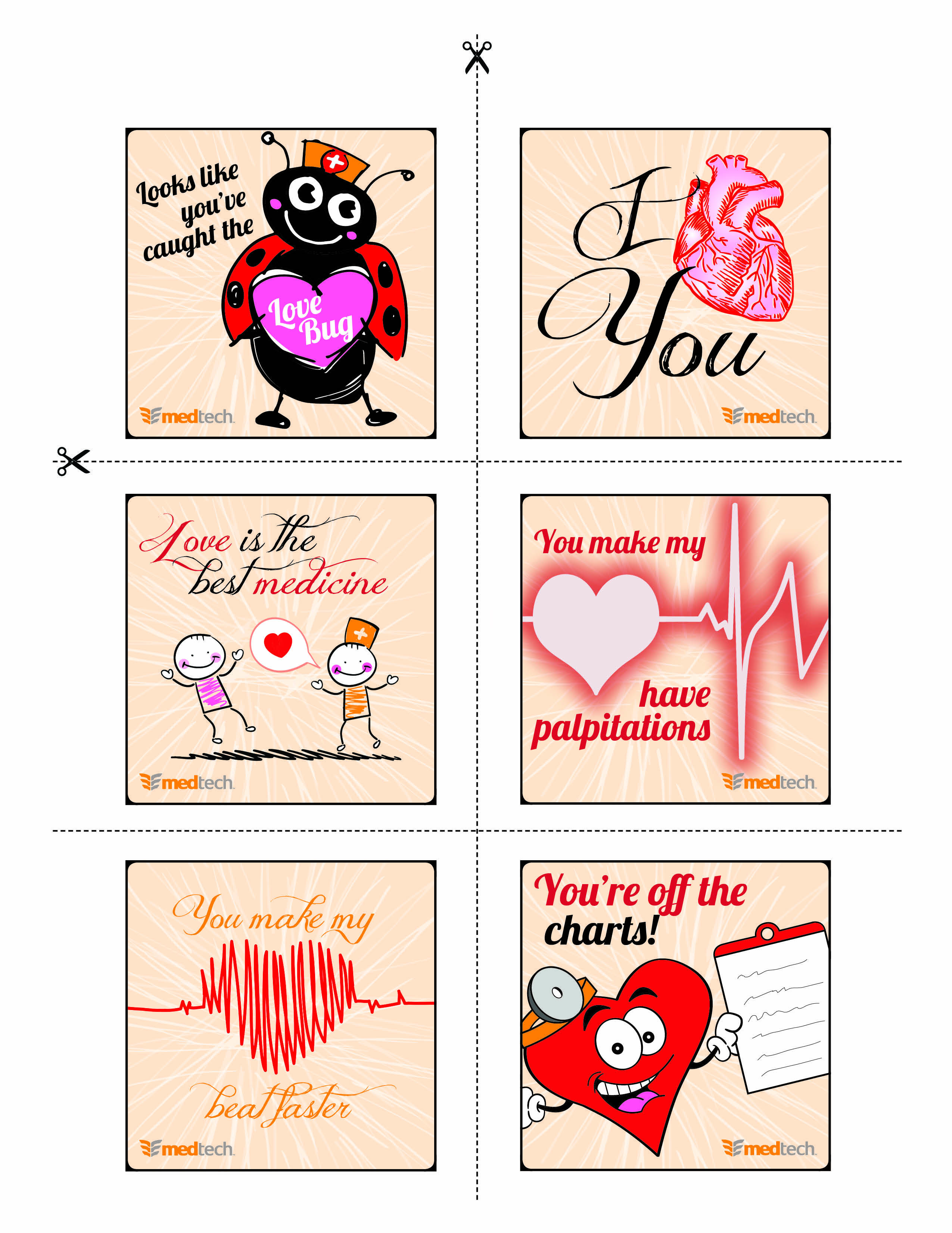 Healthcare Valentines Day 2014 Card Collection Medical Printable